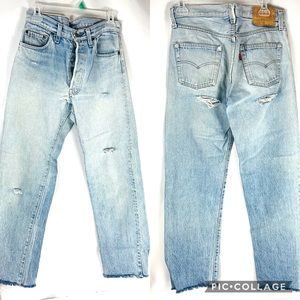 Vintage Levi's 501 Button Fly Repurposed Jeans 80'
